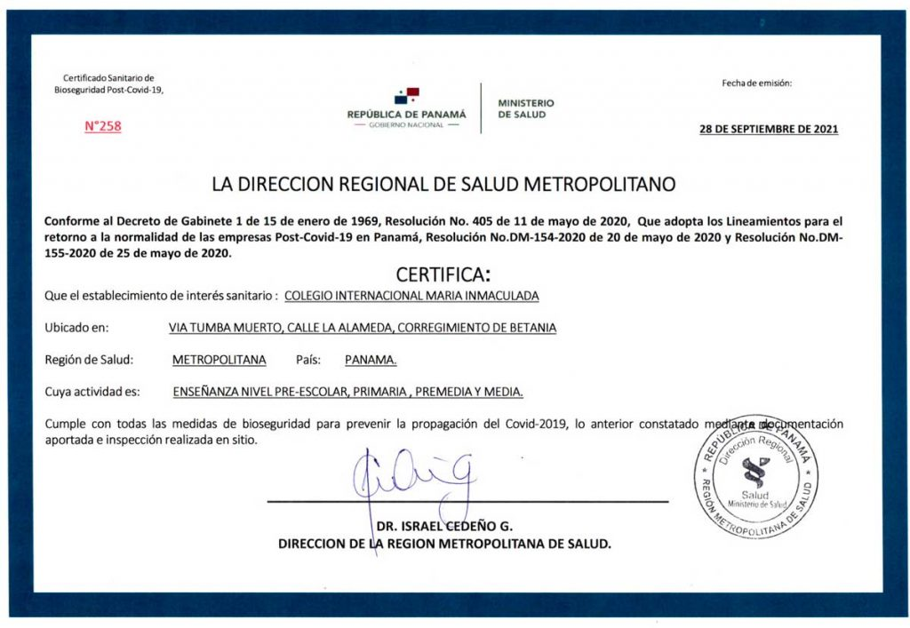 Certificado sanitario de Bioseguridad post-Covid-19 del Colegio Internacional de María Inmaculada de panamá